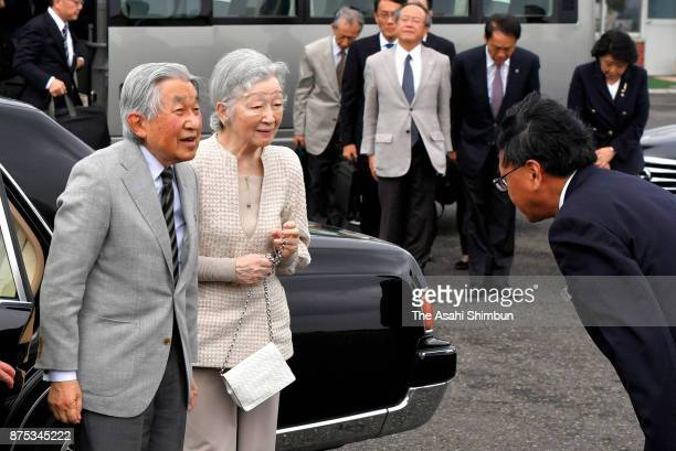 Emperor Akihito and Empress Michiko are seen on departure at Yoron Airport during their visit to Yoronjima Island on November 17 2017 in Yoron...