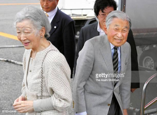Emperor Akihito and Empress Michiko are seen on departure at Yoron Airport during their visit to Yoronjima Island on November 17 2017 in Yoron...