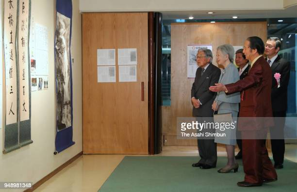 Emperor Akihito and Empress Michiko attend a calligraphy exhibition at the Mainichi Art Salon on April 14 2018 in Tokyo Japan