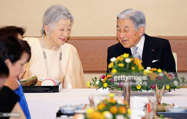 Emperor Akihito and Empress Michiko attend a dinner to celebrate the emperor's 81st birthday at the Imperial Palace on December 23 2014 in Tokyo...