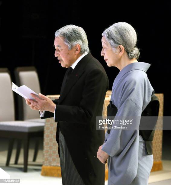 Emperor Akihito and Empress Michiko attend a national memorial service in remembrance of the Magnitude 90 Earthquake and tsunami at the National...