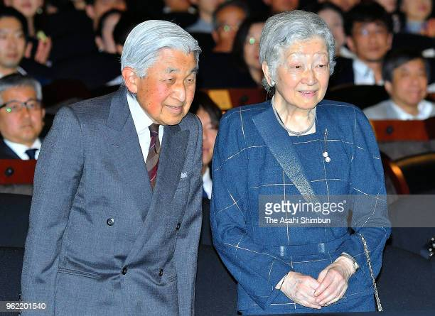 Emperor Akihito and Empress Michiko attend a special premiere of the 'Hitsuji to Hagane no Mori' on May 24 2018 in Tokyo Japan