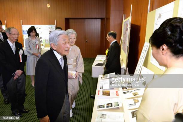 Emperor Akihito and Empress Michiko attend the 107th Japan Academy Award Ceremony at the Japan Academy headquarters on June 12 2017 in Tokyo Japan