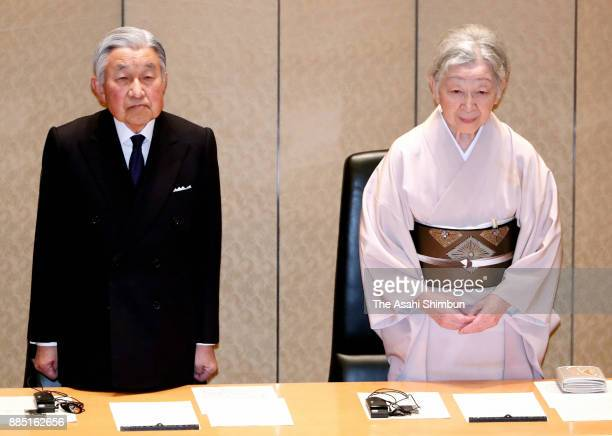 Emperor Akihito and Empress Michiko attend the 33rd International Prize for Biology Award Ceremony at the Japan Academy Hall on December 4 2017 in...