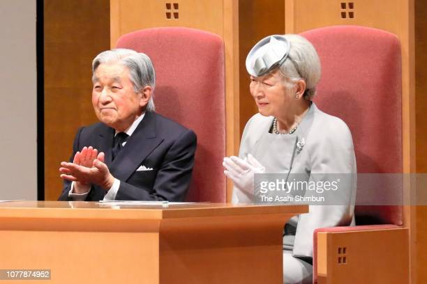 Emperor Akihito and Empress Michiko attend the 50th anniversary ceremony of the Labor and Social Security Attorney System on December 5 2018 in Tokyo...