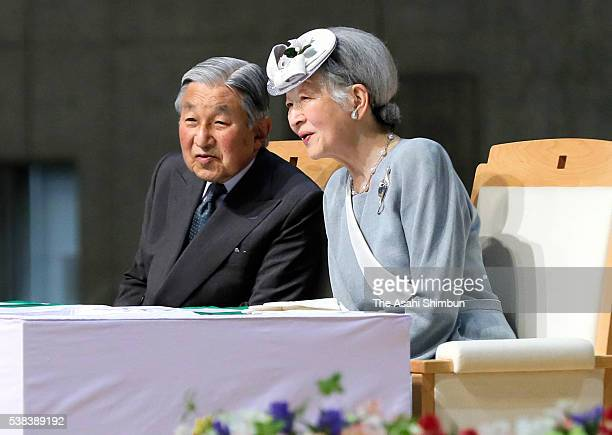Emperor Akihito and Empress Michiko attend the 67th National Tree Planting Festival ceremony during their visit to Nagano on June 5 2016 in Nagano...