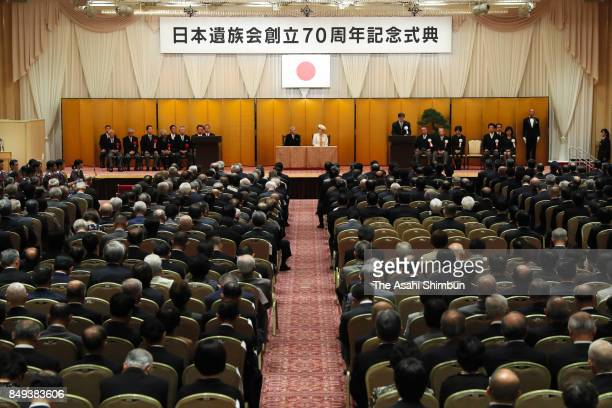 Emperor Akihito and Empress Michiko attend the 70th Anniversary Of the Japan WarBereaved Families Association Foundation Ceremony at Meiji Kinenkan...