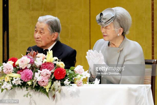 Emperor Akihito and Empress Michiko attend the 70th Tuberculosis Prevention National Meeting on February 28 2019 in Tokyo Japan