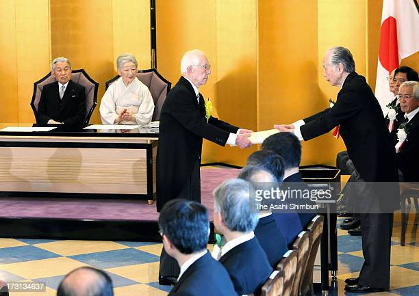 Emperor Akihito and Empress Michiko attend the award ceremony of the Japan Art Academy on July 8 2013 in Tokyo Japan