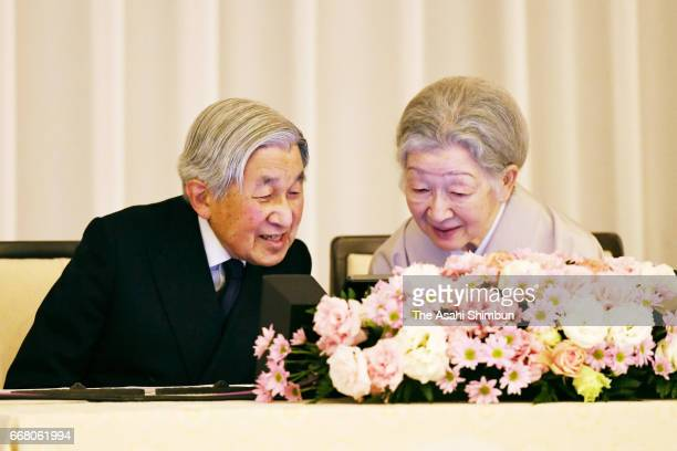 Emperor Akihito and Empress Michiko attend the centenary reception of the foundation of the America-Japan Society at the Imperial Hotel on April 13,...