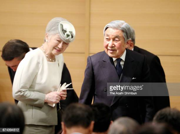 Emperor Akihito and Empress Michiko attend the Ceremony of awarding the MIDORI Prize at the Parliamentary Museum on April 28 2017 in Tokyo Japan