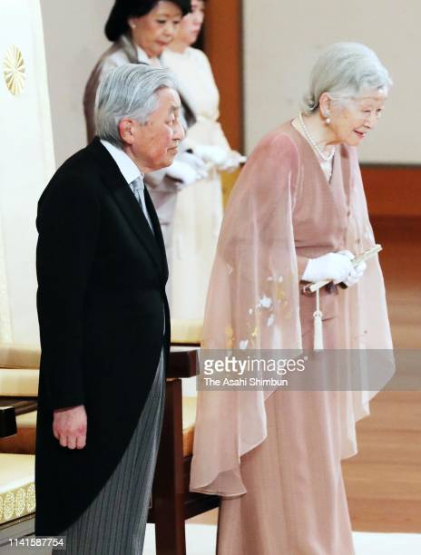 Emperor Akihito and Empress Michiko attend the ceremony to mark their diamond wedding at the Imperial Palace on April 10 2019 in Tokyo Japan The...