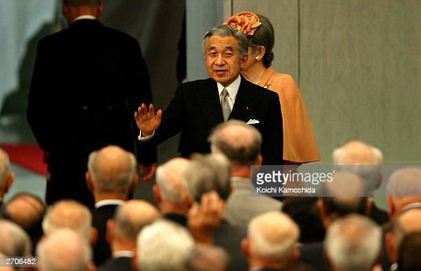 Emperor Akihito and Empress Michiko attend the commemorative Ceremony for the 50th anniversary of the Japan's Injured Veterams Group and 40th...