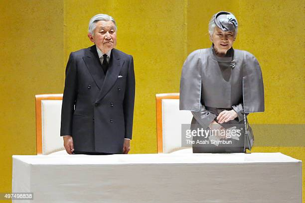 Emperor Akihito and Empress Michiko attend the Commemorative Ceremony to Celebrate the 50th Anniversary of Japan Overseas Cooperation Volunteers at...