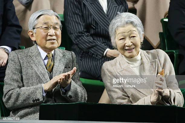 Emperor Akihito and Empress Michiko attend the Davis Cup World Group Quarter Final match between Japan and the Czech Republic at Ariake Coliseum on...