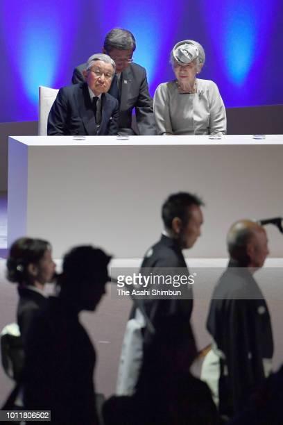 Emperor Akihito and Empress Michiko attend the Hokkaido 150th anniversary ceremony at Hokkai Kitayell on August 5, 2018 in Sapporo, Hokkaido, Japan.