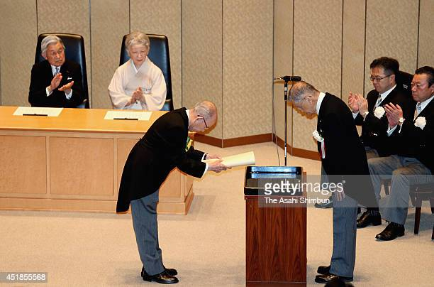 Emperor Akihito and Empress Michiko attend the Japan Academy Award ceremony on July 7 2014 in Tokyo Japan