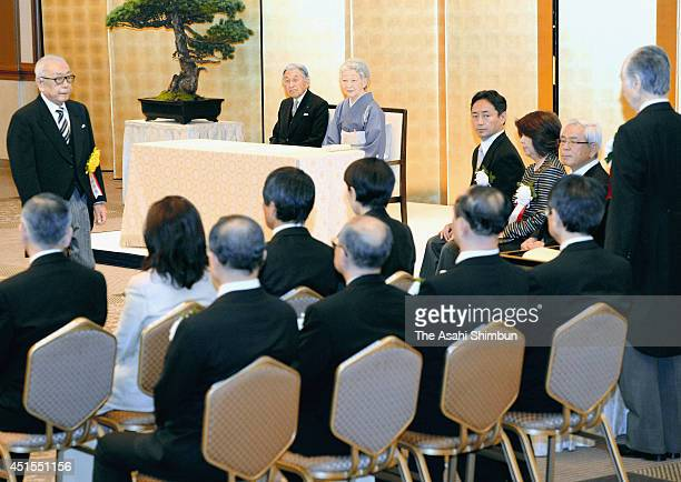Emperor Akihito and Empress Michiko attend the Japan Art Academy Award Ceremony at the Imperial Hotel on July 1, 2014 in Tokyo, Japan.