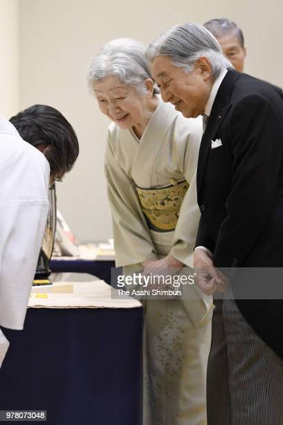 Emperor Akihito and Empress Michiko attend the Japan Art Academy Award Ceremony on June 18 2018 in Tokyo Japan