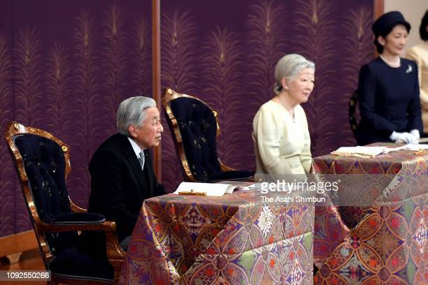 Emperor Akihito and Empress Michiko attend the 'KoshoHajimenoGi' first lecture of the New year at the Imperial Palace on January 11 2019 in Tokyo...