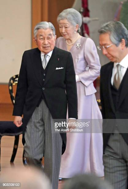 Emperor Akihito and Empress Michiko attend the 'KoshoHajimenoGi' the first lecture of the year at the Imperial Palace on January 10 2018 in Tokyo...