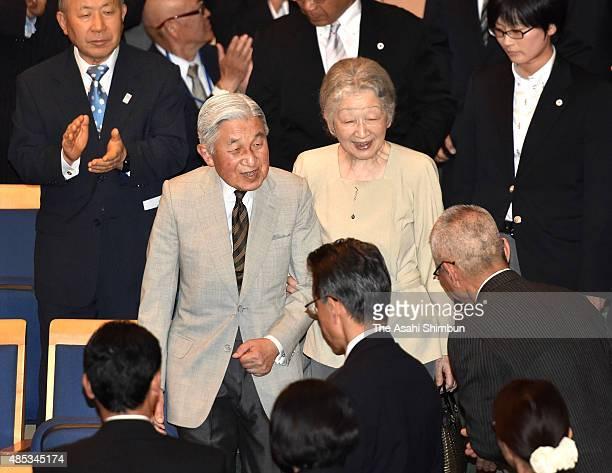 Emperor Akihito and Empress Michiko attend the Kusatsu International Summer Music Academy & Festival on August 27, 2015 in Kusatsu, Gunma, Japan.