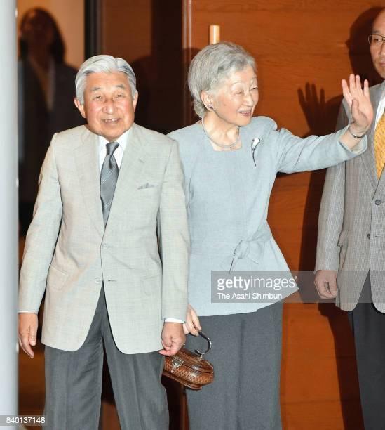 Emperor Akihito and Empress Michiko attend the Kusatsu International Summer Music Academy Festival at Kusatsu OngakunoMori International Concert Hall...
