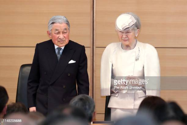 Emperor Akihito and Empress Michiko attend the Midori Prize Award Ceremony at the Parliamentary Museum on April 26 2019 in Tokyo Japan This is his...