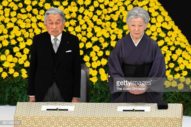 Emperor Akihito and Empress Michiko attend the national memorial ceremony for the war dead at the Nippon Budokan on the 72nd anniversary of Japan's...