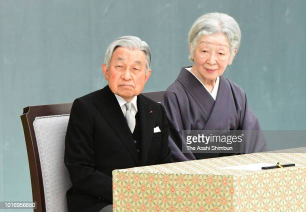 Emperor Akihito and Empress Michiko attend the national memorial ceremony on the 73rd anniversary of the Japan's WWII Surrender at the Nippon Budokan...