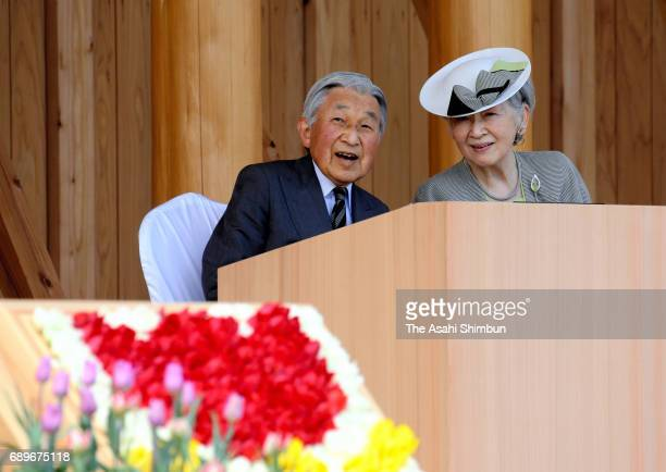 Emperor Akihito and Empress Michiko attend the national tree planting festival on May 28 2017 in Uozu Toyama Japan