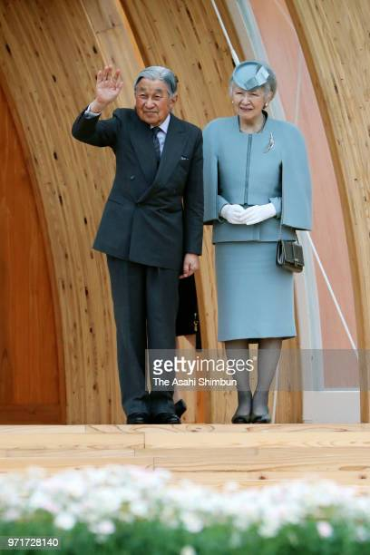 Emperor Akihito and Empress Michiko attend the National TreePlanting Festival on June 10 2018 in Minamisoma Fukushima Japan This 3day trip could be...