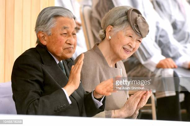 Emperor Akihito and Empress Michiko attend the opening ceremony of the National Sports Festival at the Fukui Prefecture Athletic Stadium on September...