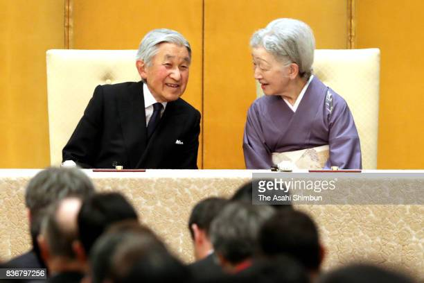 Emperor Akihito and Empress Michiko attend the opening ceremony of the 24th Congress of the International Commission for Optics on August 21 2017 in...