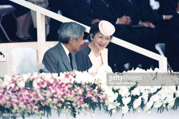 Emperor Akihito and Empress Michiko attend the opening ceremony of the national sports festival Yamagata Prefecture Athletic Stadium on October 4...