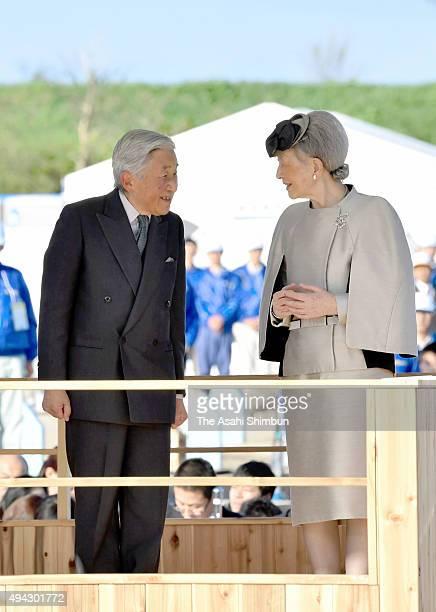 Emperor Akihito and Empress Michiko attend the Yutakana-Umizukuri-Taikai, or meeting on fertilizing the sea at Kaiomaru Park on October 25, 2015 in...