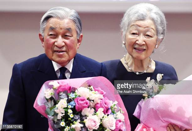 Emperor Akihito and Empress Michiko attend the tea party marking the 30th anniversary of the enthronement and their diamond wedding at the Imperial...