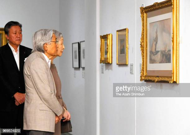 Emperor Akihito and Empress Michiko attend the 'Turner and the Poetics of Landscape' exhibition at the Seiji Togo Memorial Sompo Japan Nipponkoa...