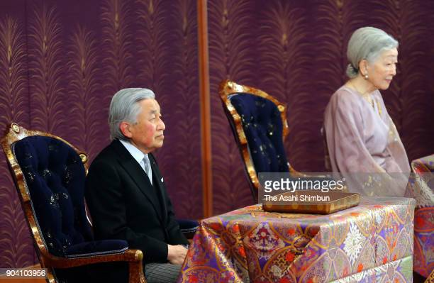 Emperor Akihito and Empress Michiko attend the 'UtakaiHajimenoGi' New Year's Poetry Reading ceremony at the Imperial Palace on January 12 2018 in...