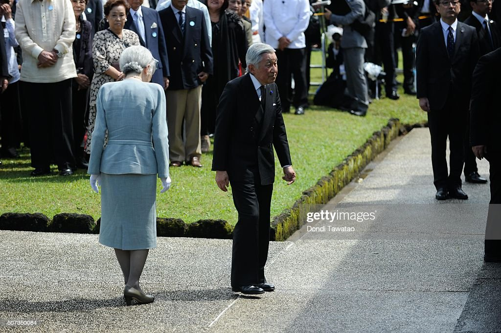 Emperor Akihito and Empress Michiko bow with the surviving relatives of Japanese Imperial soldiers of World War II during a solemn ceremony to honor fallen Japanese soldiers of World War II at the Japanese War Memorial Shrine at Caliraya on January 29, 2016 in Laguna, Philippines. The emperor and empress of Japan concludes their five-day state visit to the Philippines on Friday to highlight the 60 years of strong diplomatic ties between the two nations.