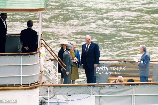 Emperor Akihito and Empress Michiko enjoy the Rhine River Cruise with German Chancellor Helmut Kohl and his wife Hannelore Kohl on September 15 1993...
