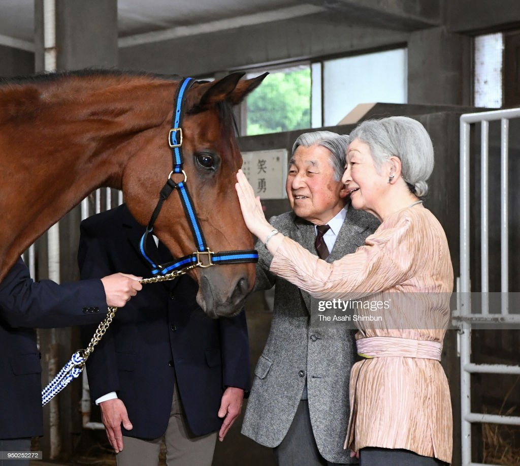 Emperor And Empress Feed Horse To Be Sent To Ise Shrine