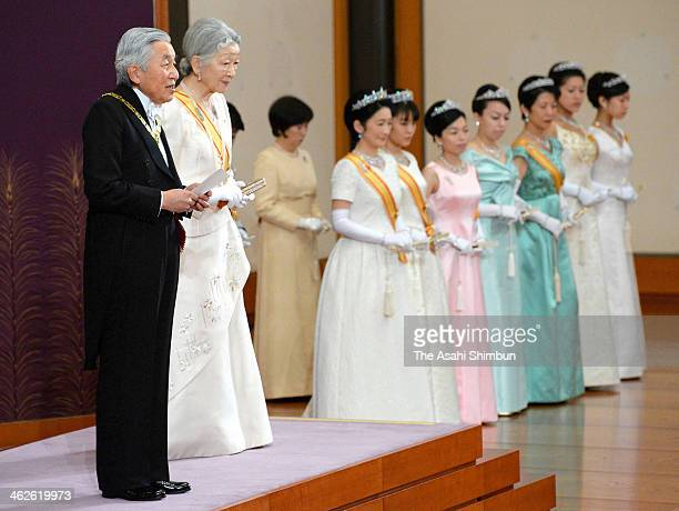 Emperor Akihito and Empress Michiko greet the Speaker of the House of Representatives and the President of the House of Councilors during the New...