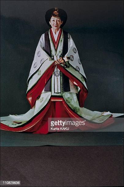 Emperor Akihito And Empress Michiko In Traditional Dress In Japan On November 08 1990 Michiko in formal imperial court attire for the enthronement...