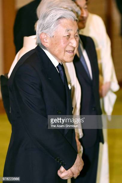 Emperor Akihito and Empress Michiko invite Japan Art Academy Award laureates to the tea party at the Imperial Palace on June 18 2018 in Tokyo Japan