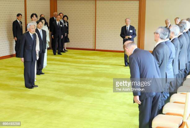 Emperor Akihito and Empress Michiko invite laureates of the 107th Japan Academy Award to the tea party at the Imperial Palace on June 12 2017 in...