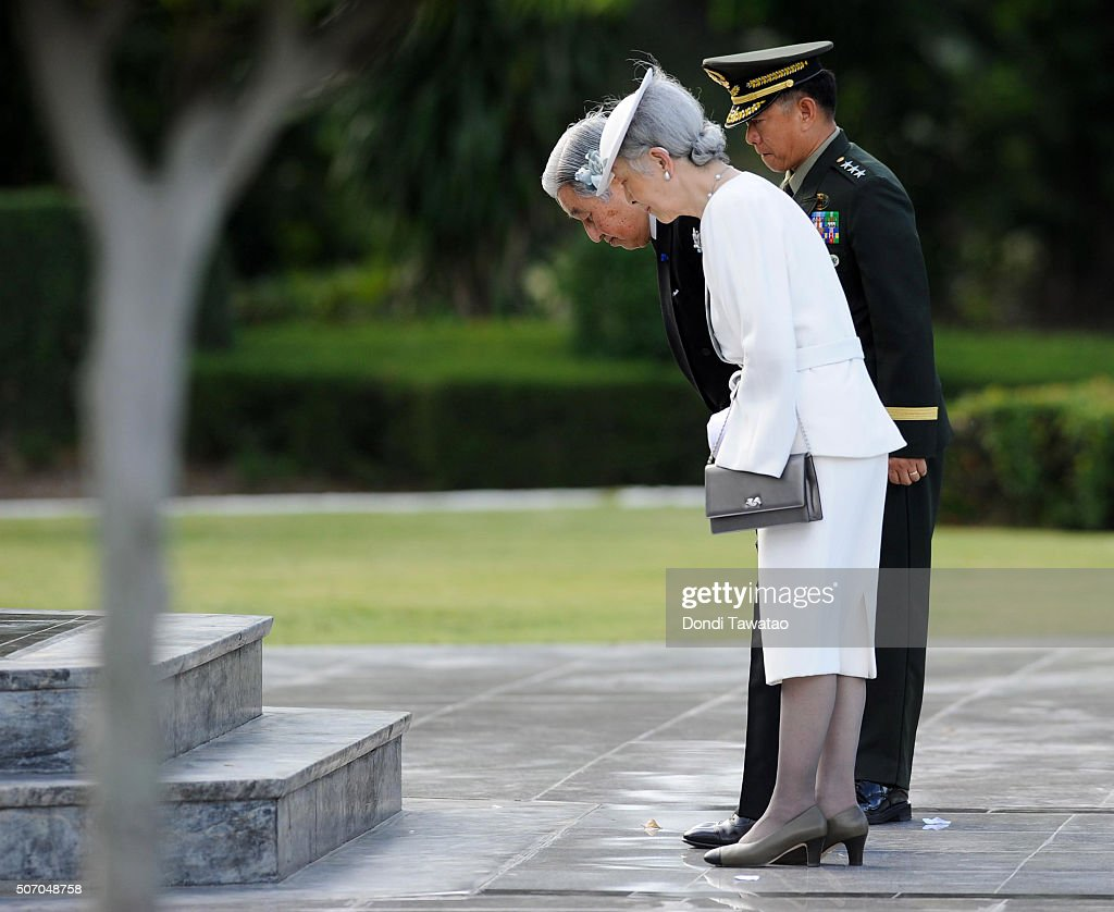 Emperor Akihito and Empress Michiko is escorted by Armed Forces of the Philippines commanding general Eduardo Ano at the Tomb of the Fallen Soldiers on January 27, 2016 in Taguig City, Philippines. The emperor and empress of Japan started their five-day state visit to the Philippines on Tuesday to highlight the 60 years of strong diplomatic ties between the two nations.