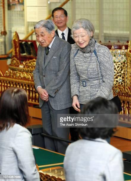 Emperor Akihito and Empress Michiko listen to a performance at the Hamamatsu Museum of Musical Instruments on November 28 2018 in Hamamatsu Shizuoka...