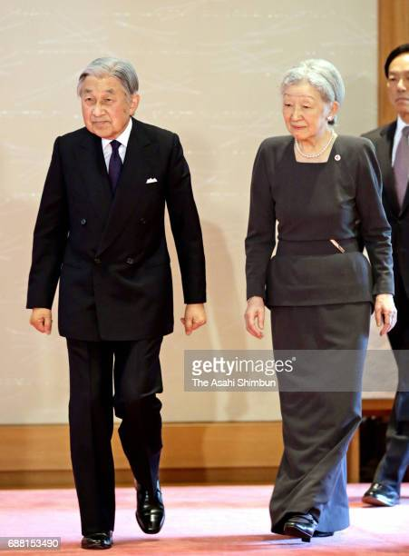 Emperor Akihito and Empress Michiko meet contributing members of the Japanese Red Cross Society at the Imperial Palace on May 25 2017 in Tokyo Japan