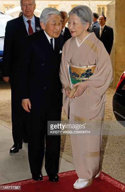Emperor Akihito and Empress Michiko of Japan arrive at Windsor Castle west of London on May 18 for a Sovereign's Jubilee Lunch hosted by Britain's...